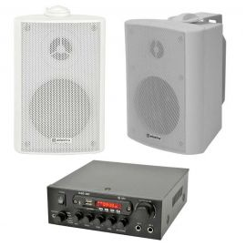 Amplificator digital QTX KAD-2BT, bluetooth, USB, FM, 4-8 Ohmi, 2 x 55W Max, 2 x Boxe BP3V-W - 1