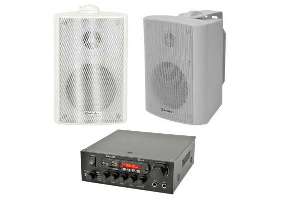 Amplificator digital QTX KAD-2BT, bluetooth, USB, FM, 4-8 Ohmi, 2 x 55W Max, 2 x Boxe BP3V-W - 1