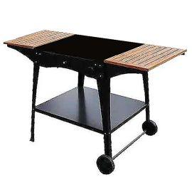Stand metalic mobil pentru cuptor traditional pentru pizza pe lemne Maximus cu mese laterale din lemn - 1