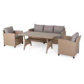 BAXTER Set mobilier terasa/gradina, 2 fotolii, canapea si masa 37881SET Natur Bej - 1