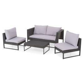 LIONI Set mobilier terasa/gradina, 2 fotolii, canapea si masuta TPW52530 Negru Gri - 1