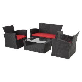 LIMA Set mobilier gradina/terasa, 2 fotolii, canapea si masuta MEXMLM210011 Negru Rosu - 1