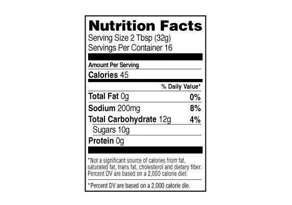 Sos Stubb's Sticky Sweet Bar-B-Q 450 ml 510 g ST-232 informatii nutritionale