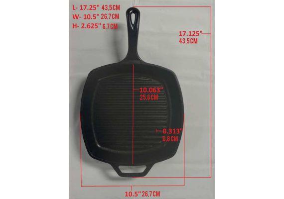 Tigaie grill adanca patrata din fonta cu maner Lodge 26,7 cm L-8SGP3