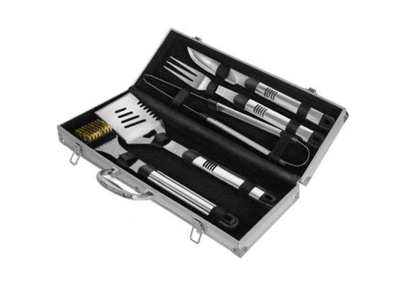 Set 5 ustensile din inox pentru gratar cutie din aluminiu Activa 16100