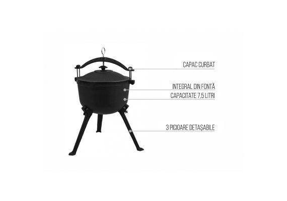 Ceaun vanatoresc din fonta cu capac 7,5 litri Activa 19906