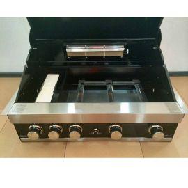 Gratar pe gaz cu 5 arzatoare (3 inox + 2 infrarosu), incastrabil, gratare din fonta, Grand Hall Maxim GTI4B-V B03433320A