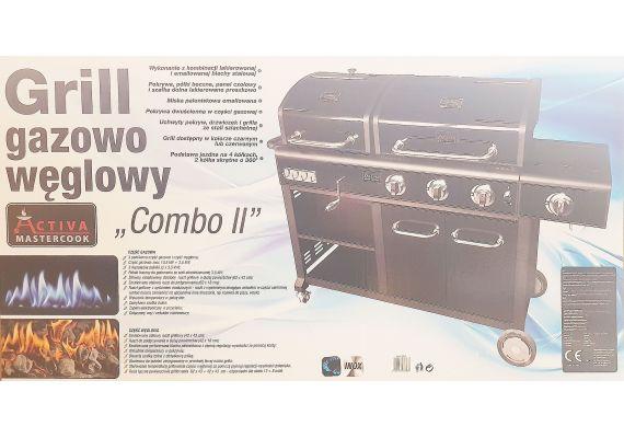 Gratar pe gaz si carbuni Activa Combo II 19760, arzatoare din inox, gratare din fonta