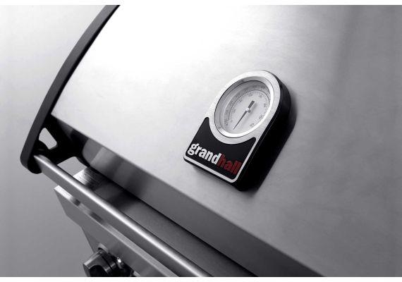 Gratar pe gaz cu 5 arzatoare (4 inox + 1 infrarosu), incastrabil, grile inox, plita fonta, Grand Hall Elite GT4S-S K04000202A