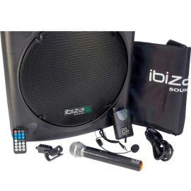 Boxa activa portabila Ibiza difuzor 38CM USB MP3 PORT15VHF-BT